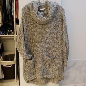 Chunky Cowl Neck Tunic Sweater